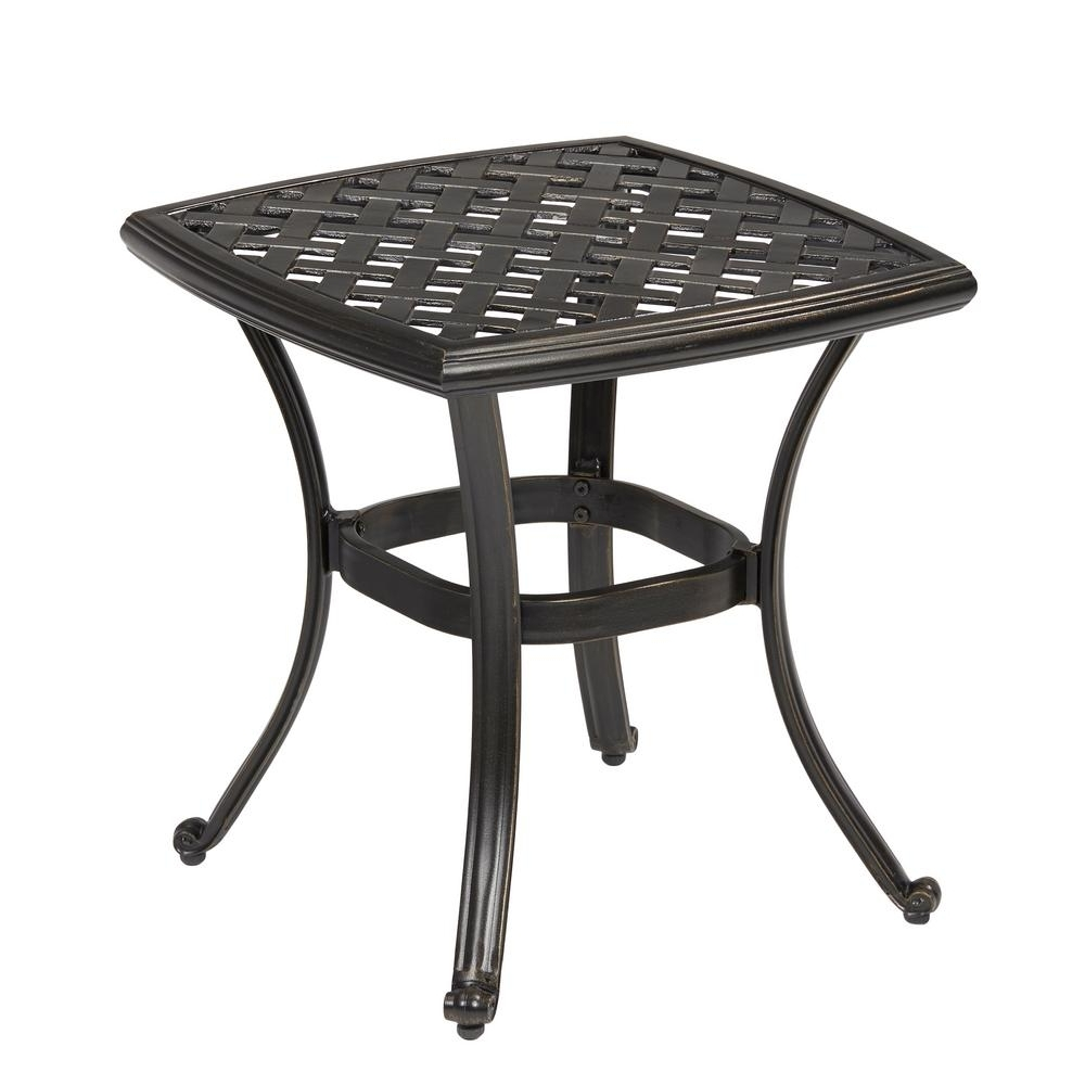Favorite Hampton Bay Belcourt Metal Square Outdoor Side Table D11334 Ts – The Pertaining To Patio Umbrella Side Tables (View 6 of 20)