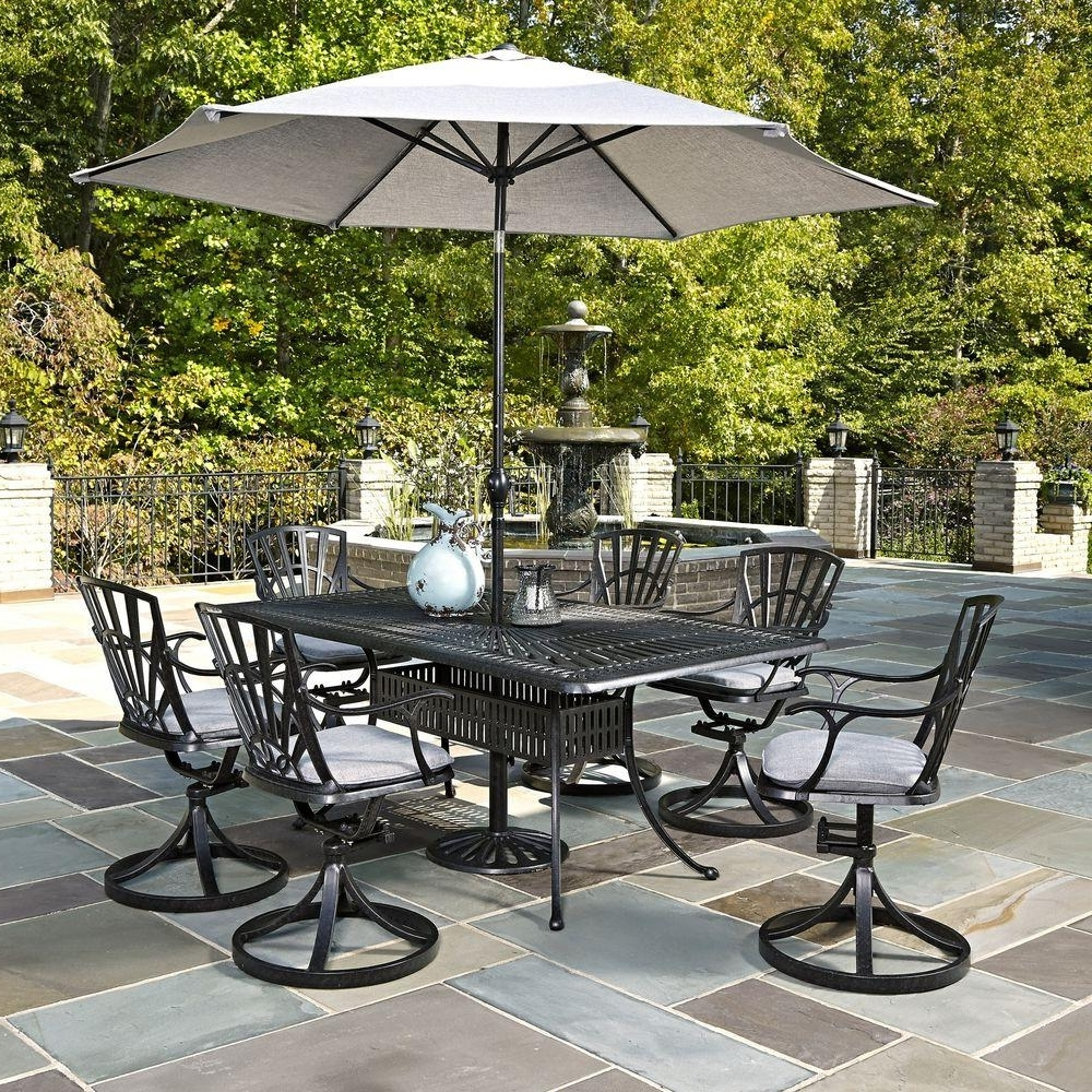 Favorite Home Styles Largo 7 Piece Outdoor Patio Dining Set With Umbrella And For Patio Table Sets With Umbrellas (View 2 of 20)