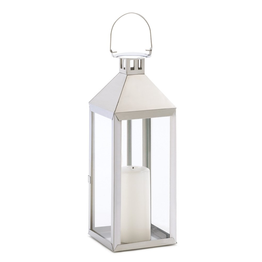 Favorite Outdoor Rustic Lanterns Within White Metal Candle Lantern, Outdoor Lanterns For Candles Stainless (View 6 of 20)