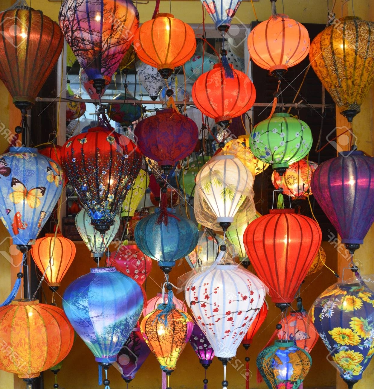 Favorite Outdoor Vietnamese Lanterns With Regard To Colourful Fabric Lanterns Hang Outside A Shop In A Street In. (View 6 of 20)
