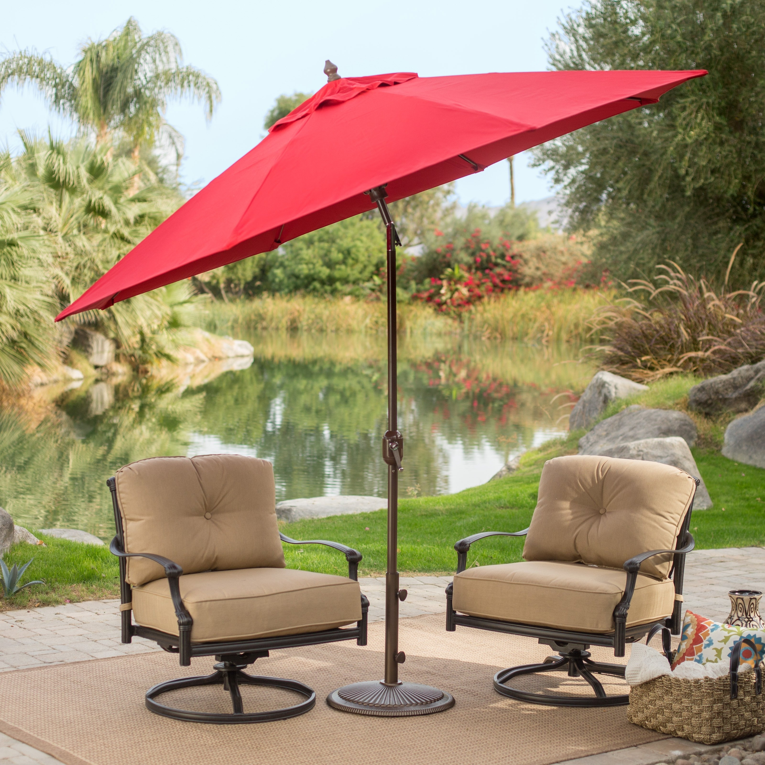 Favorite Patio Umbrellas With Fans In Coral Coast 9 Ft. Sunbrella Deluxe Tilt Aluminum Patio Umbrella (Gallery 12 of 20)