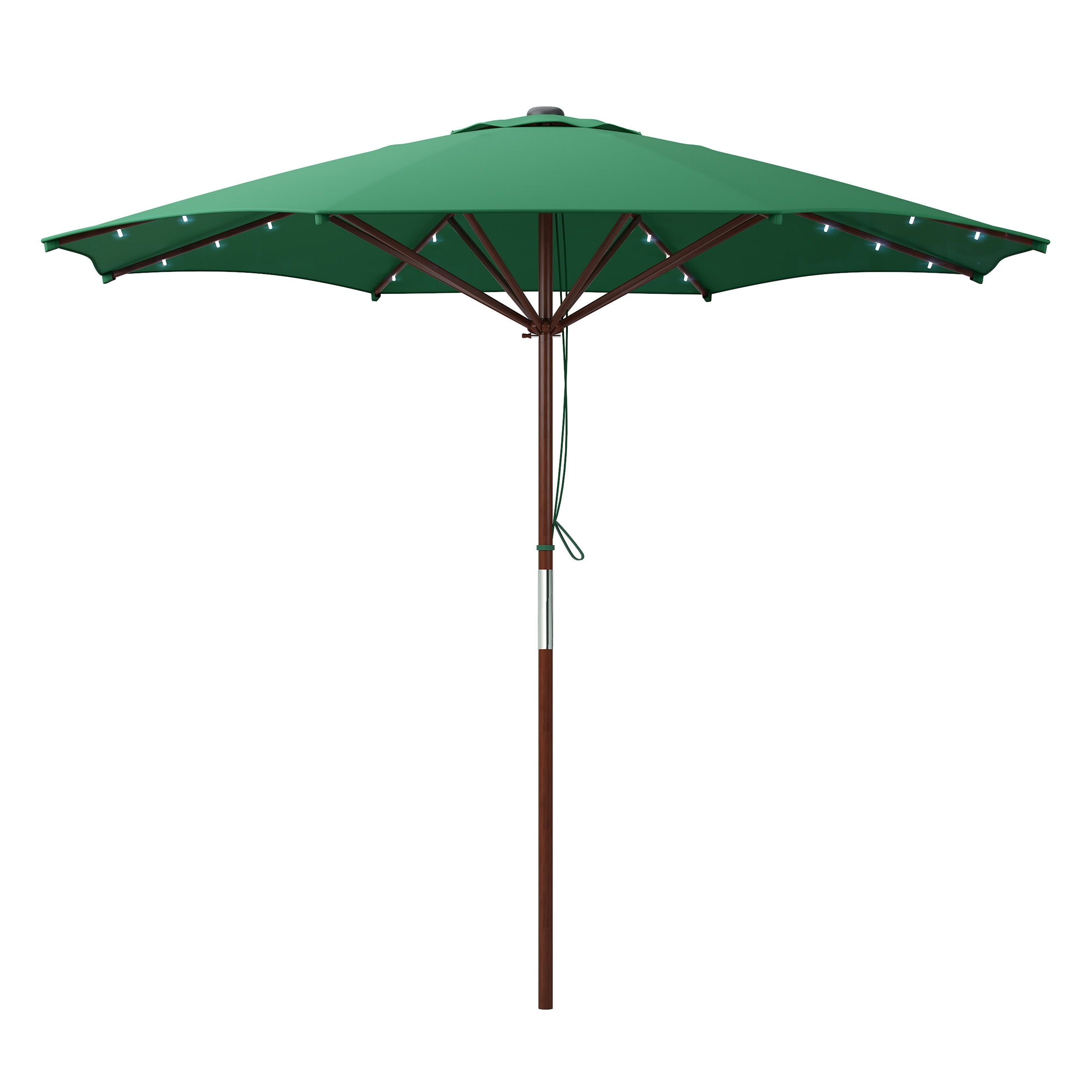 Favorite Patio Umbrellas With Solar Led Lights Within Green Patio Umbrella With Solar Power Led Lights (View 18 of 20)
