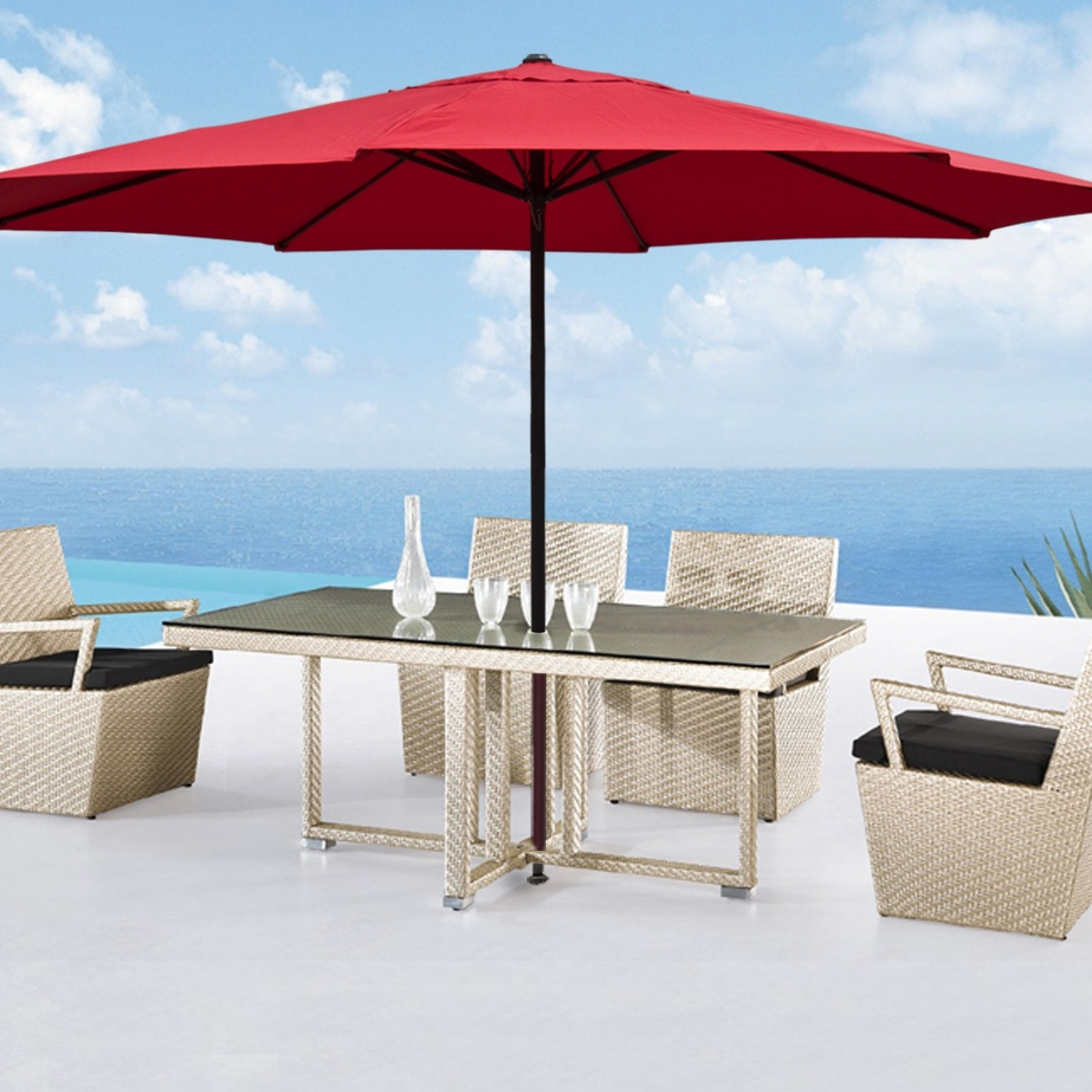 Favorite Red Large Patio Umbrellas — Wilson Home Ideas : Stylish Large Patio With Large Patio Umbrellas (View 6 of 20)