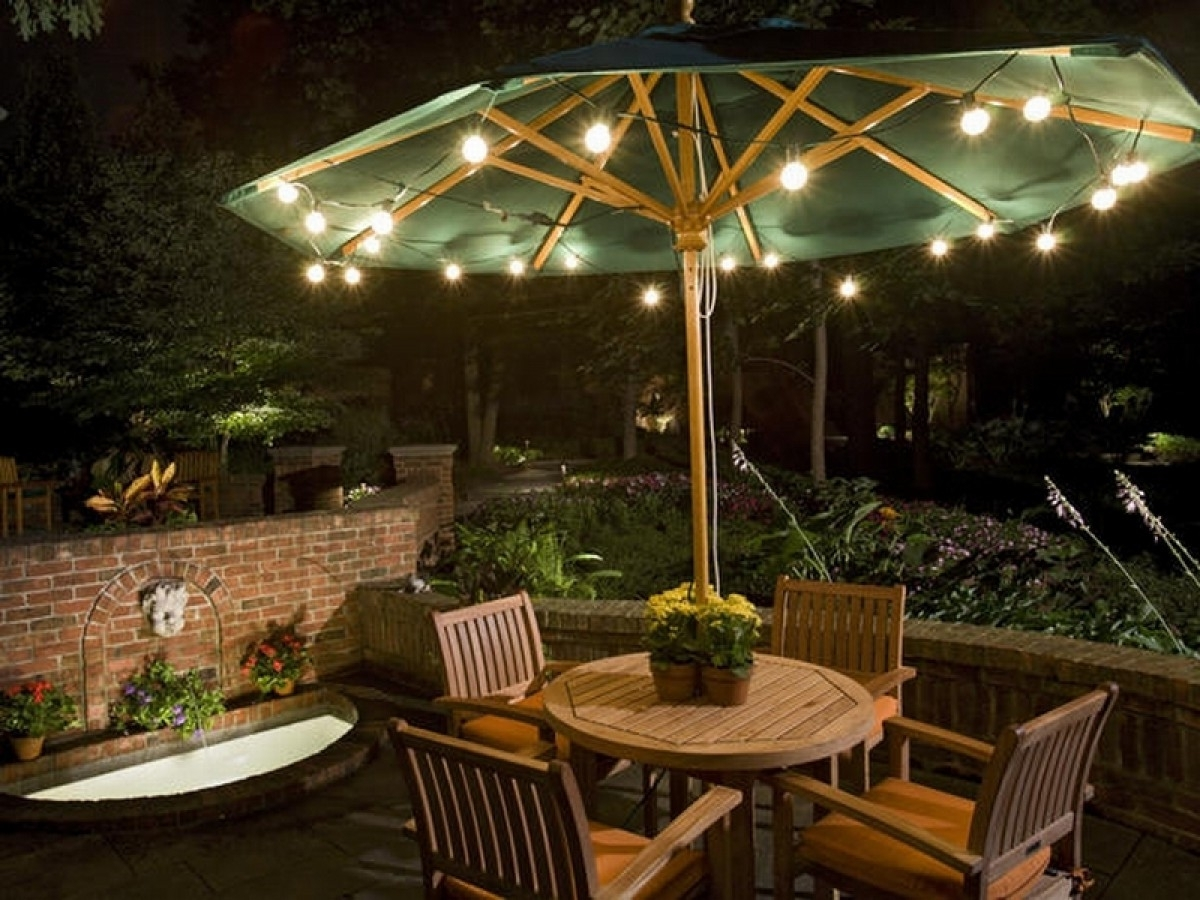 Favorite Solar Powered Patio Umbrella Lights — Mistikcamping Home Design Inside Solar Powered Patio Umbrellas (View 20 of 20)