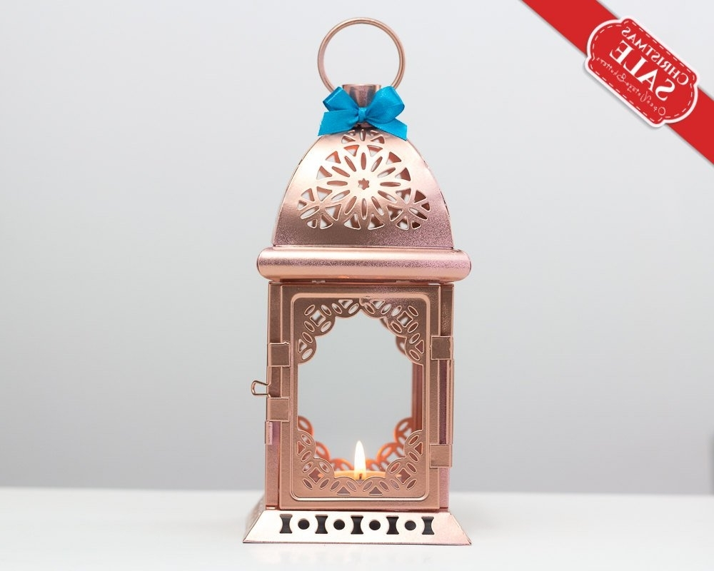 Favorite Unique Rose Gold Lanterns Moroccan Lantern Metal Candle (Gallery 20 of 20)