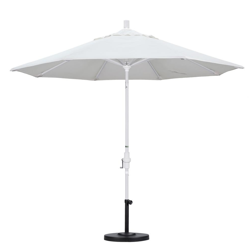 Favorite White Patio Umbrellas Throughout California Umbrella 9 Ft. Aluminum Collar Tilt Patio Umbrella In (Gallery 1 of 20)