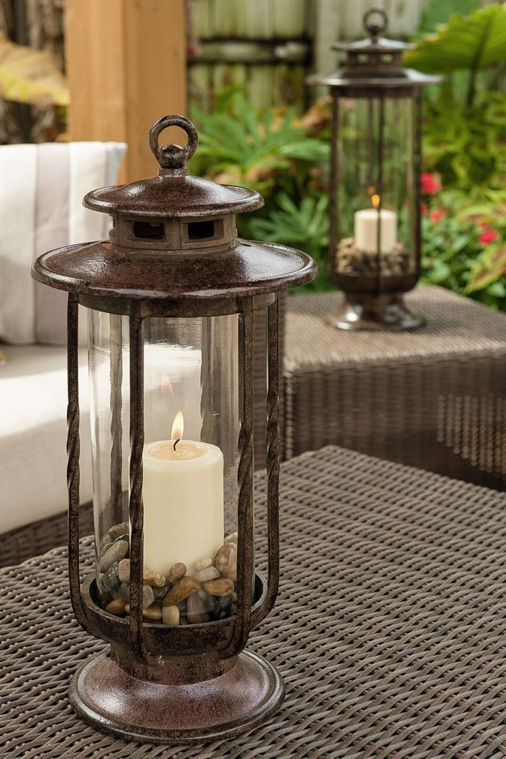 Fireplace Candles Inside Outdoor Cast Iron Lanterns (View 13 of 20)