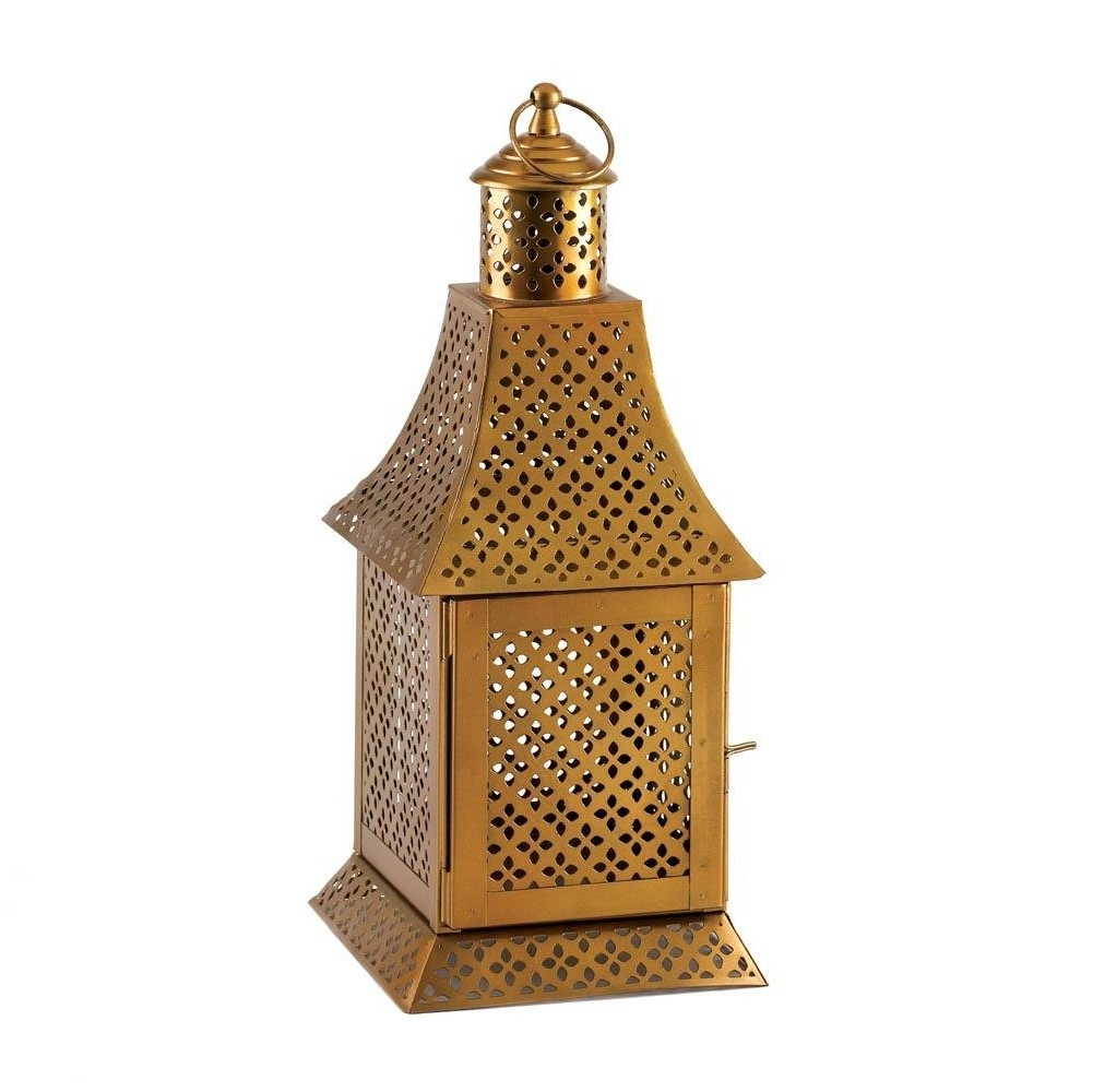 Floor Lantern, Enigma Gold Metal House Porch Portable Outdoor Regarding Newest Gold Outdoor Lanterns (Gallery 5 of 20)