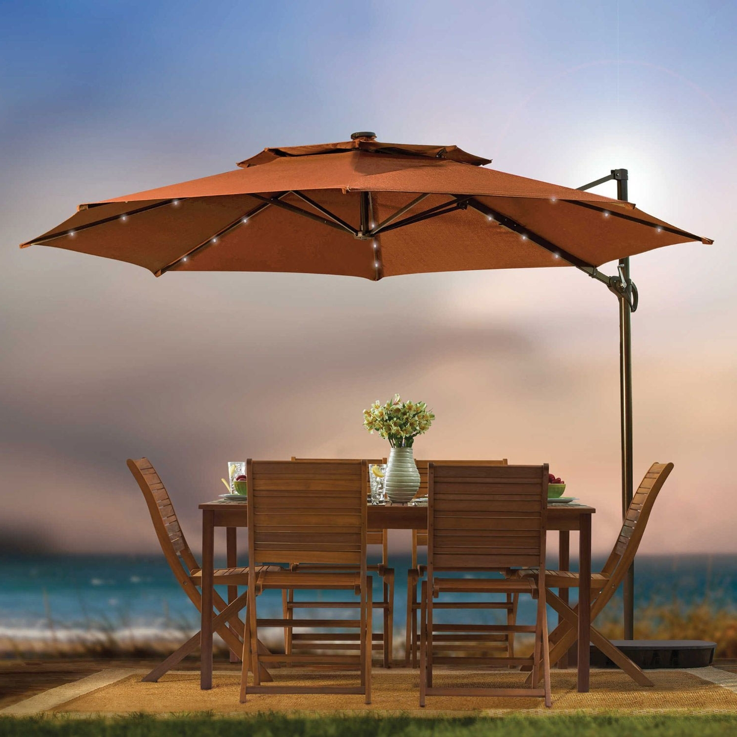 Free Standing Patio Umbrellas In Most Up To Date Furniture: Nice Small Patio Table With Umbrella Hole For Stunning (View 10 of 20)