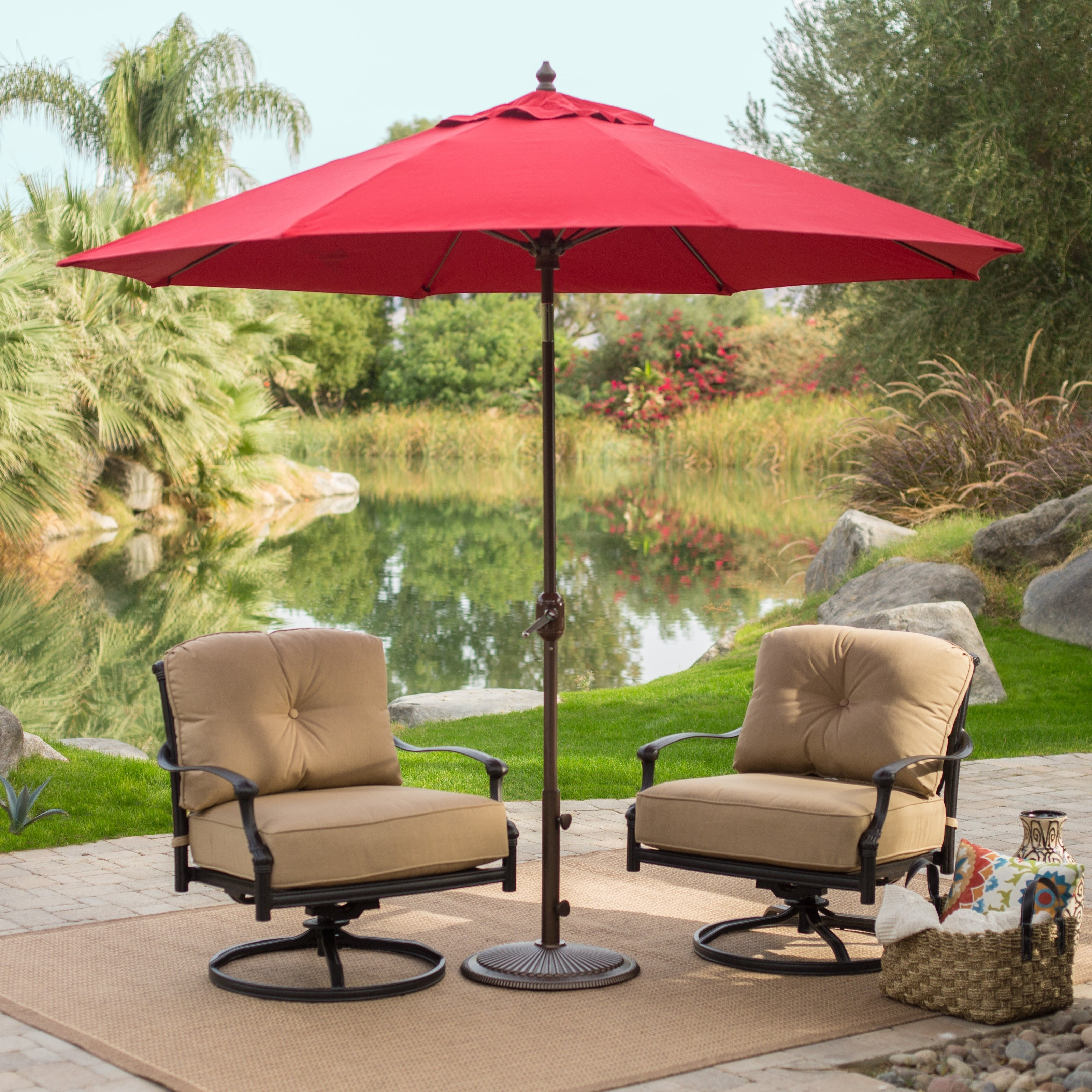 Free Standing Umbrellas For Patio Inside Newest Coral Coast 9 Ft (View 6 of 20)