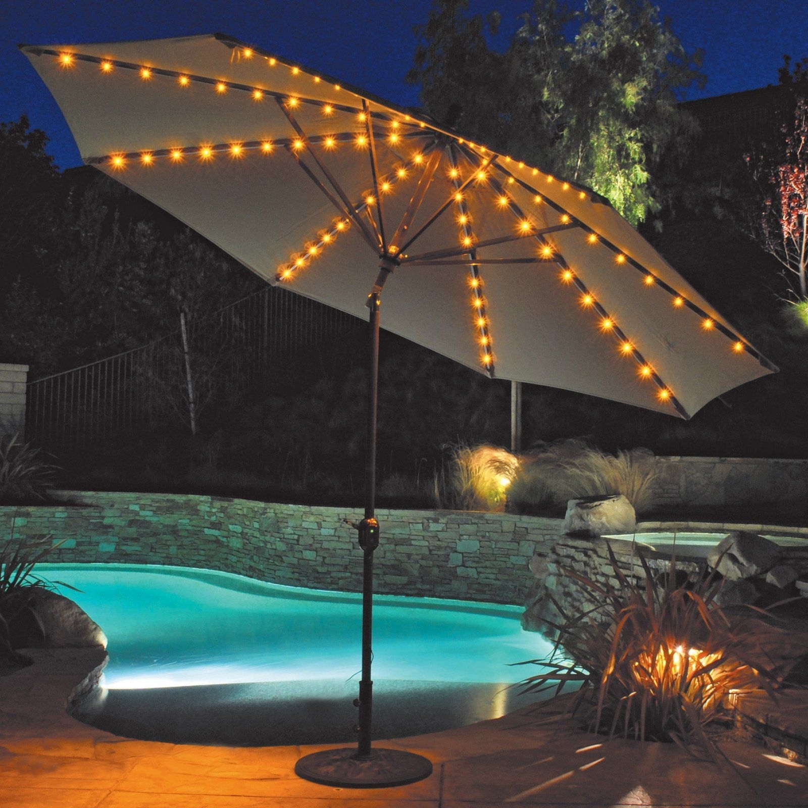 Galtech 11 Ft. Auto Tilt Patio Umbrella With Led Umbrella Lights Intended For Newest Patio Umbrella Lights (Gallery 8 of 20)