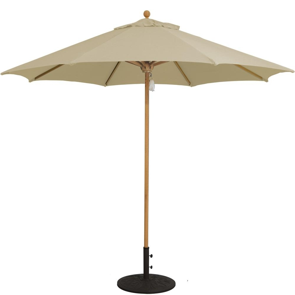 Galtech 9 Ft. Octagonal Hardwood Patio Market Umbrella W/ Pulley Within Trendy Sunbrella Teak Umbrellas (Gallery 7 of 20)