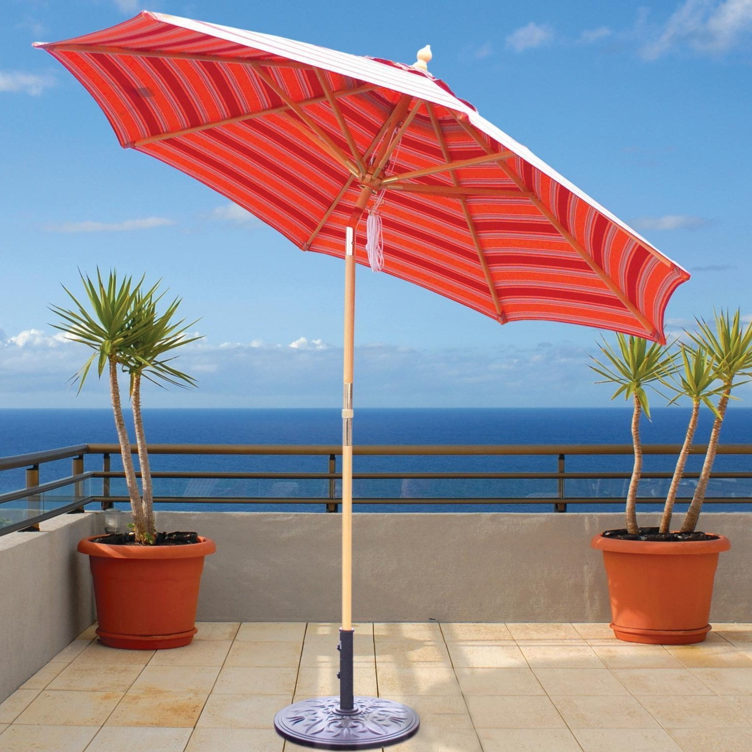 Galtech 9 Ft Wood Patio Umbrella With Crank Lift And Rotational Tilt In Fashionable Wooden Patio Umbrellas (Gallery 4 of 20)