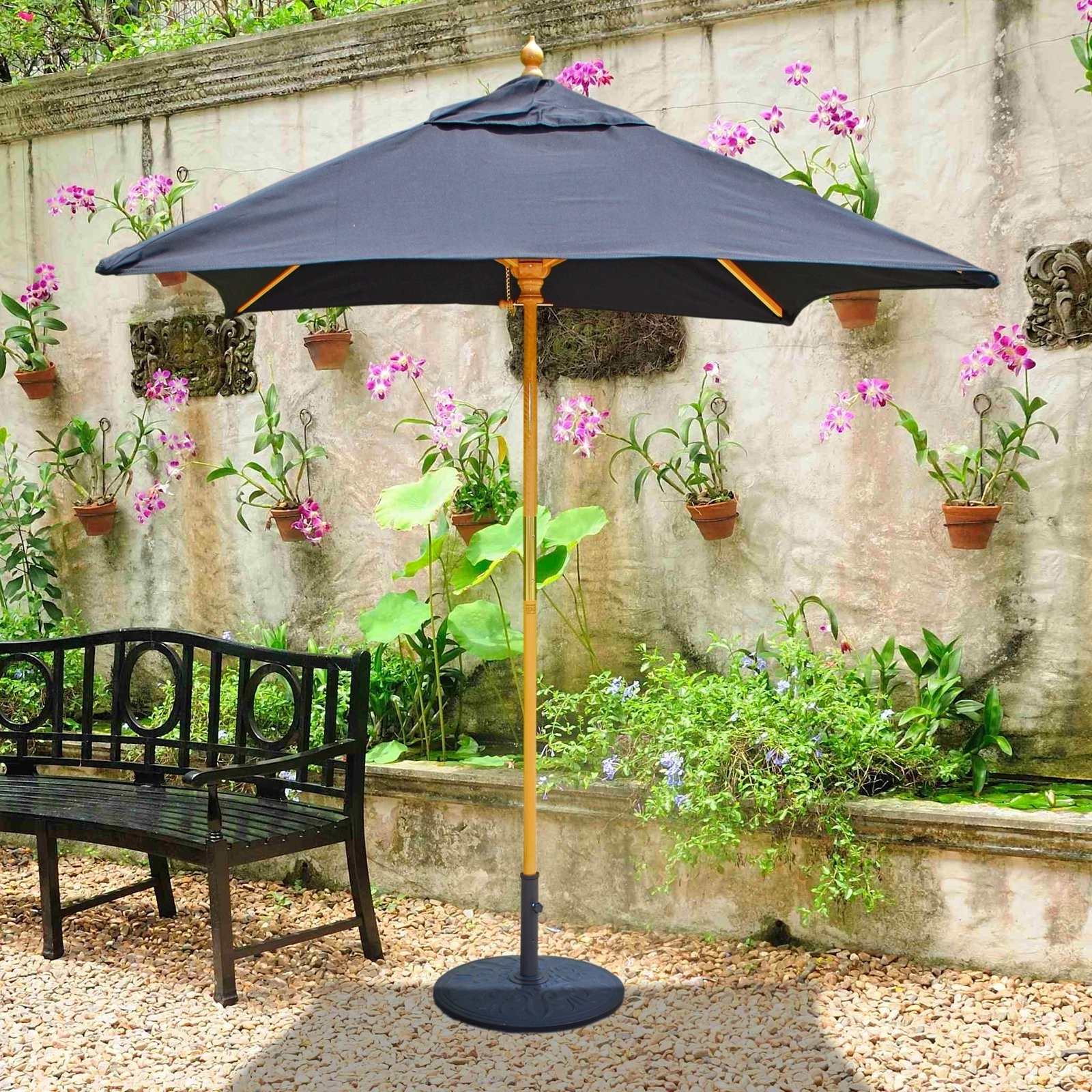Galtech Sunbrella 6 X 6 Ft Wood Square Patio Umbrella Patio Within Recent Square Sunbrella Patio Umbrellas (View 9 of 20)