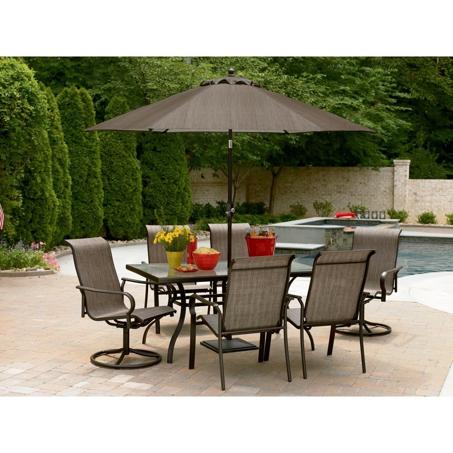 Garden: Enchanting Outdoor Patio Decor Ideas With Patio Umbrellas With Recent Patio Table And Chairs With Umbrellas (View 4 of 20)