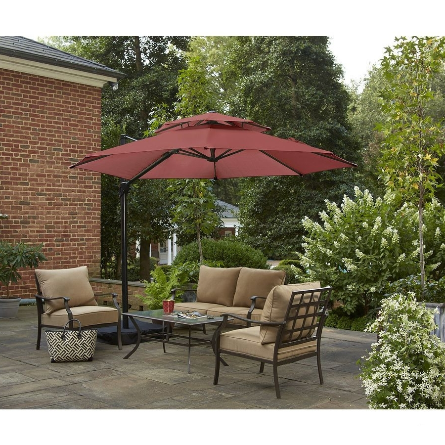 Garden Treasures Patio Umbrellas For 2018 Patio Umbrellas Lowes – Brilliant Shop Garden Treasures Round Red (View 6 of 20)