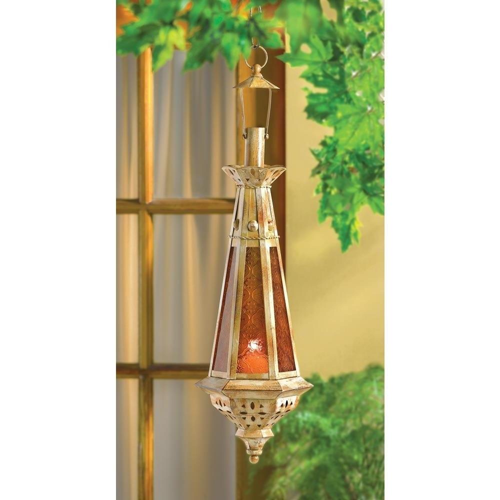 Gold Outdoor Lanterns Regarding 2018 Moroccan Lantern, Amber Teardrop Candle Glass Metal Gold Outdoor (View 10 of 20)