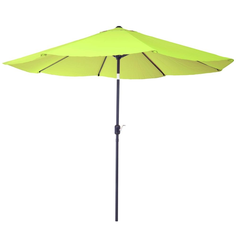 Green Patio Umbrellas Intended For Preferred Pure Garden 10 Ft. Aluminum Patio Umbrella With Auto Tilt In Lime (Gallery 5 of 20)