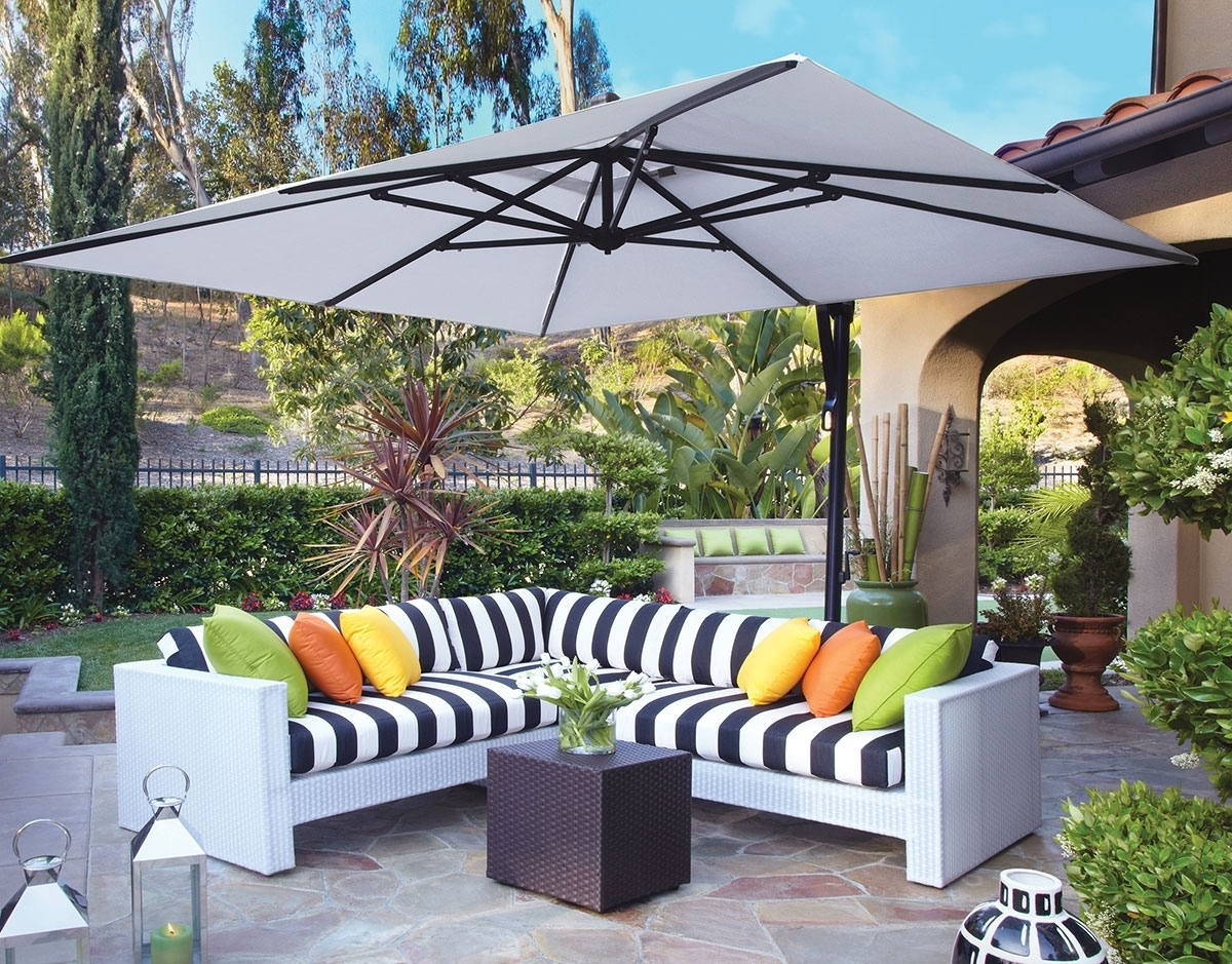Grey Patio Umbrellas With Most Current Striped Patio Umbrellas Amazon Com Striped Patio Umbrella (View 12 of 20)