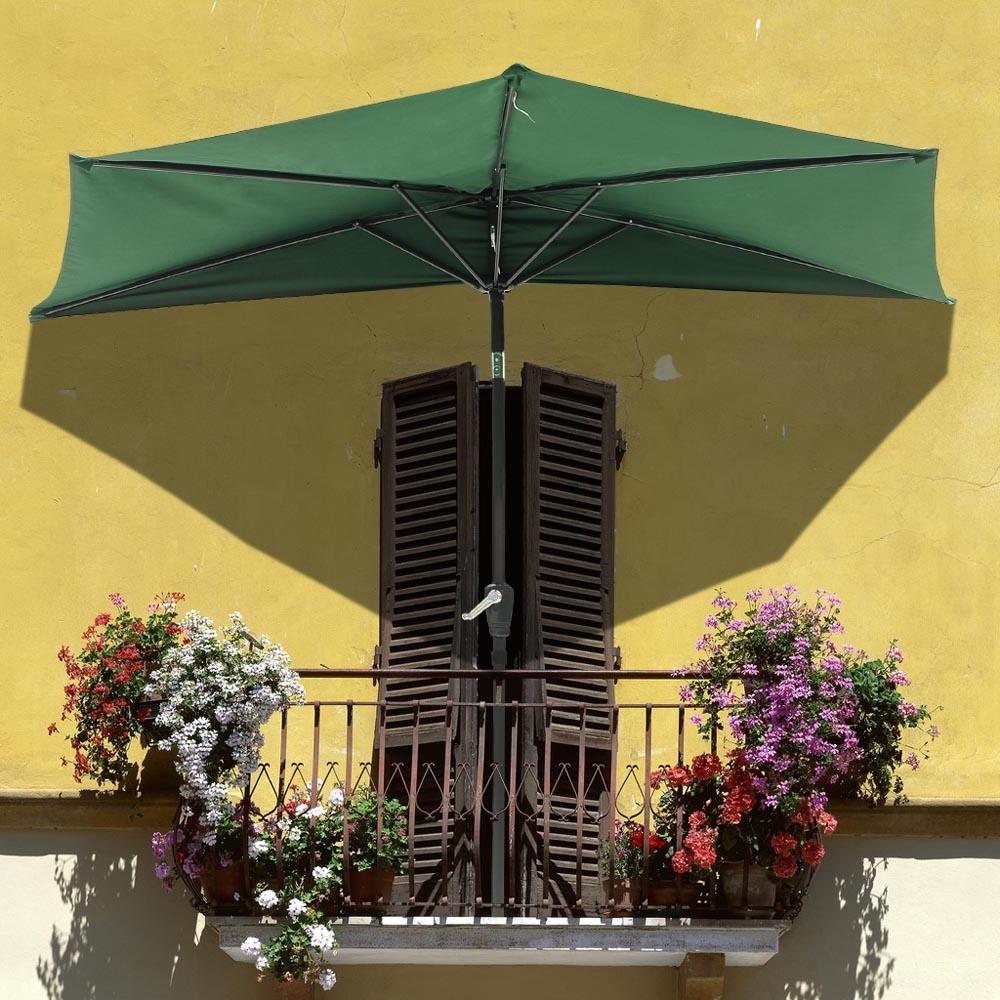 Half Patio Umbrellas Throughout Preferred 9Ft Half Umbrella Outdoor Patio Bistro Wall Balcony Door Window Sun (View 9 of 20)