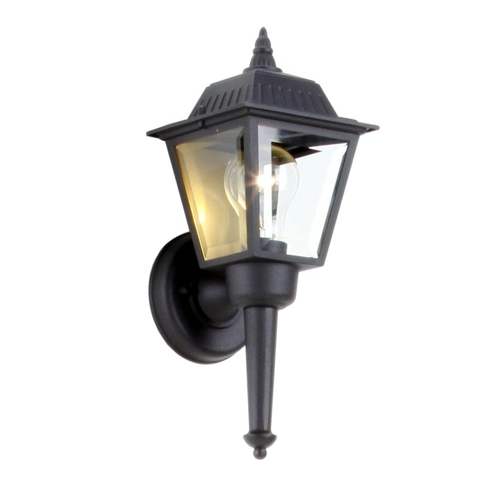 Hampton Bay 1 Light Black Outdoor Wall Mount Lantern Bpl1611 Blk Inside Well Liked Outdoor Vinyl Lanterns (View 8 of 20)