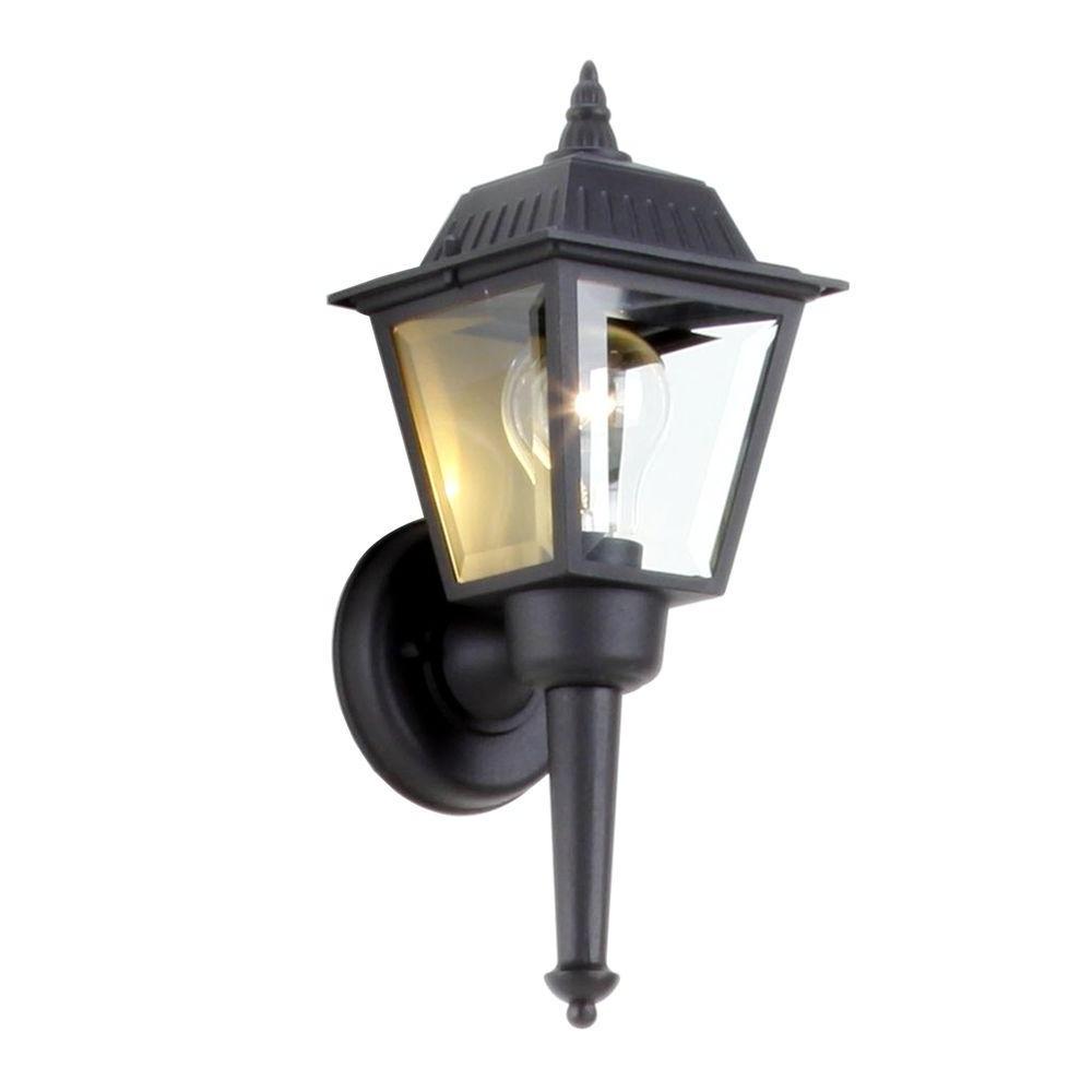 Hampton Bay 1 Light Black Outdoor Wall Mount Lantern Bpl1611 Blk Inside Well Liked Outdoor Vinyl Lanterns (View 4 of 20)