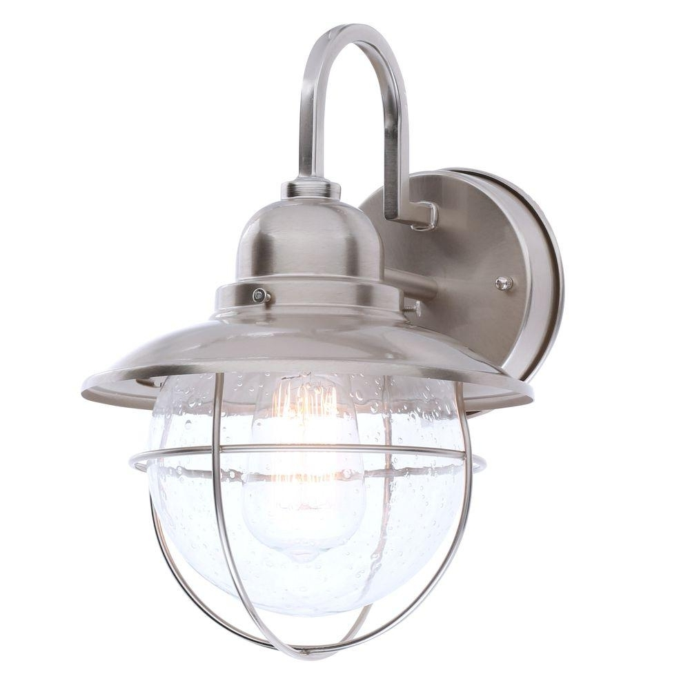 Hampton Bay 1 Light Brushed Nickel Outdoor Cottage Lantern Boa1691H Throughout Preferred Nickel Outdoor Lanterns (Gallery 1 of 20)