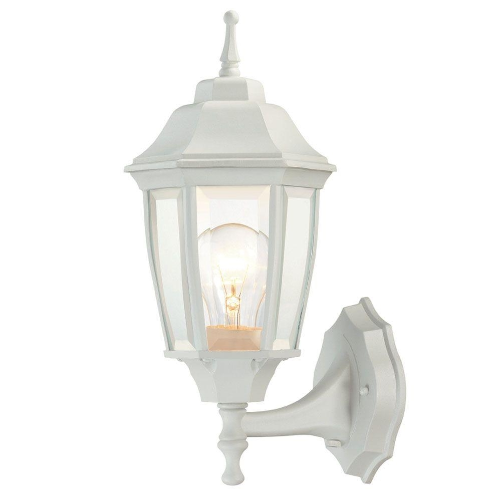 Hampton Bay 1 Light White Outdoor Dusk To Dawn Wall Lantern Bpp1611 Inside Well Liked Outdoor Exterior Lanterns (View 4 of 20)
