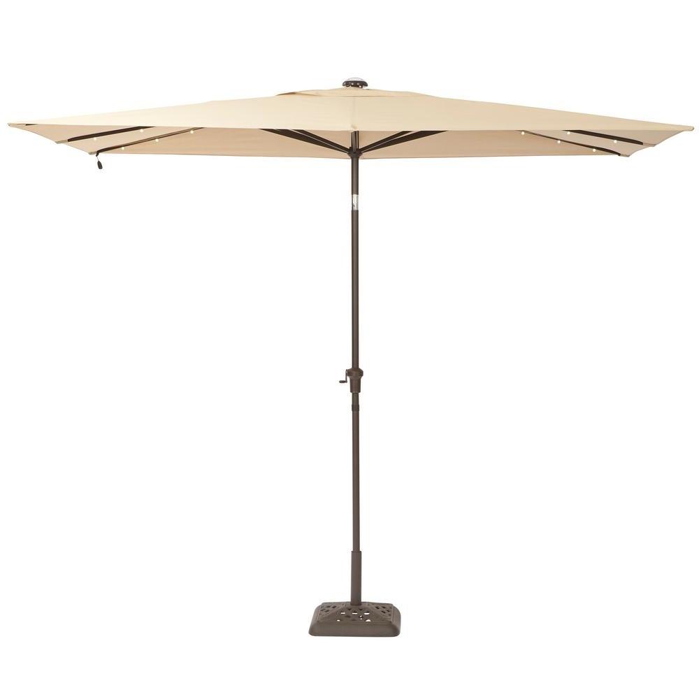 Hampton Bay 10 Ft. X 6 Ft. Aluminum Solar Patio Umbrella In Cafe Inside Preferred 6 Ft Patio Umbrellas (Gallery 2 of 20)