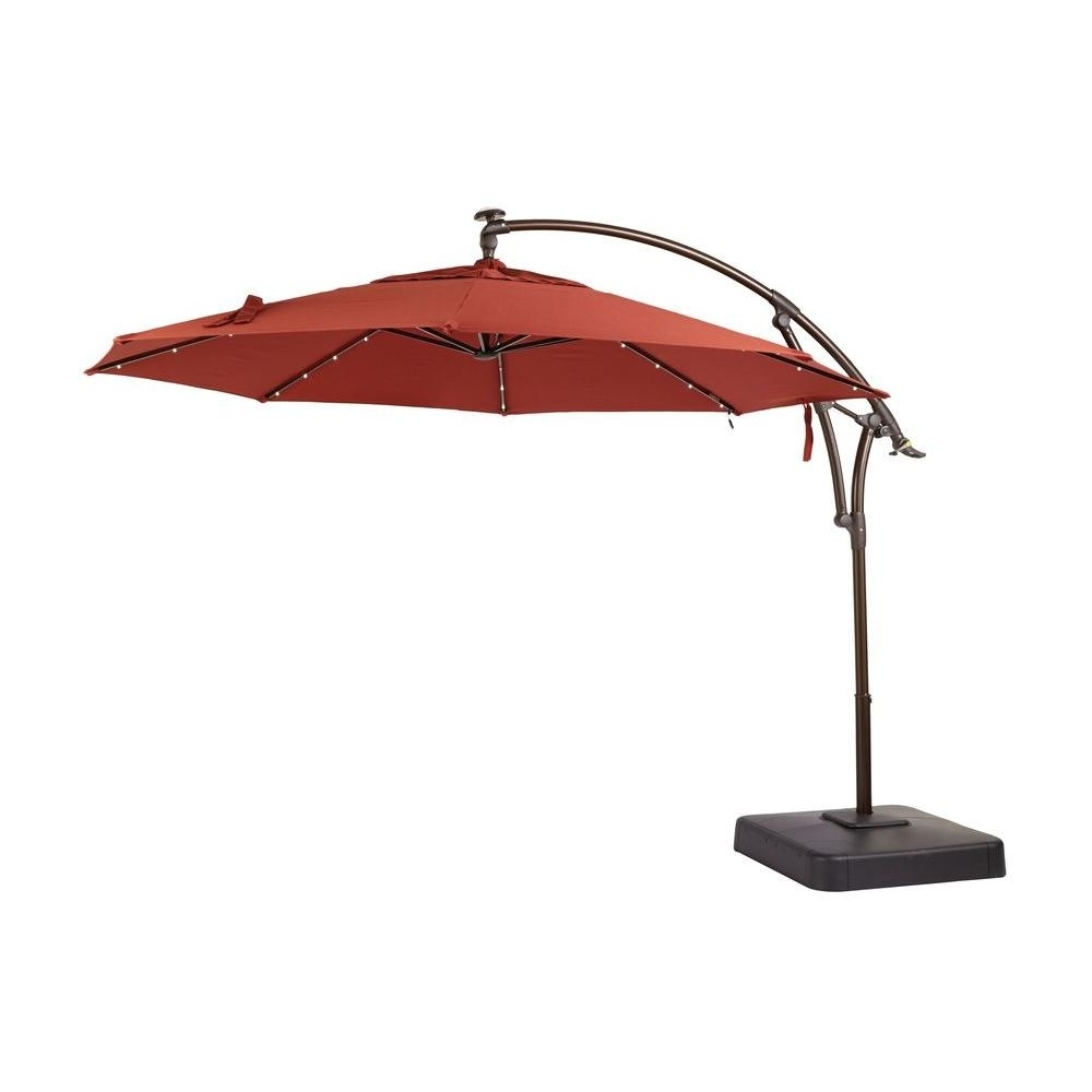 Hampton Bay 11 Ft. Led Offset Patio Umbrella In Sunbrella Henna In Most Recently Released Red Patio Umbrellas (Gallery 16 of 20)