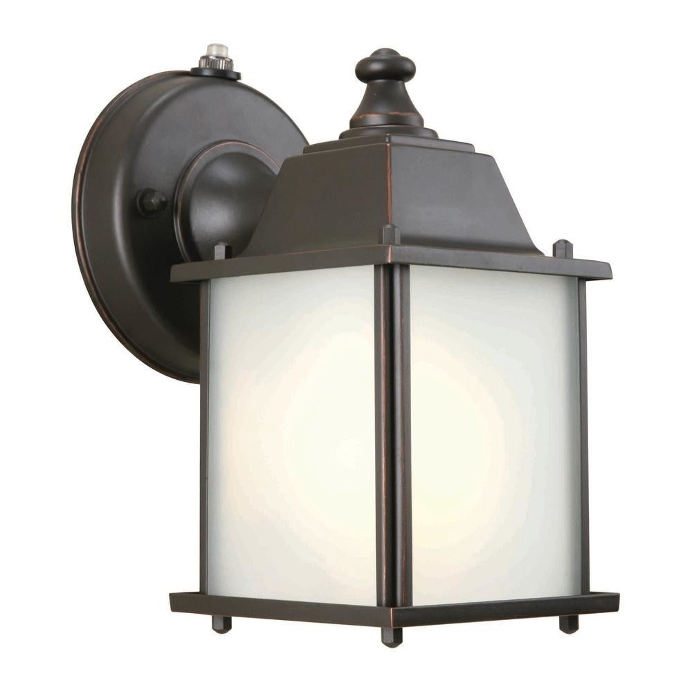 Hampton Bay 393810 Wall Mount 1 Light Outdoor Lantern Oil Rubbed Regarding Best And Newest Wall Mounted Outdoor Lanterns (View 16 of 20)
