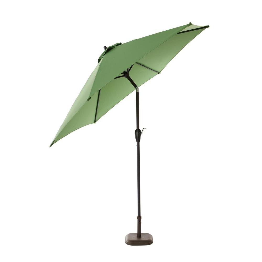 Hampton Bay 9Ft. Aluminum Push Button Tilt Patio Umbrella In Fern With Most Current Tilting Patio Umbrellas (Gallery 1 of 20)