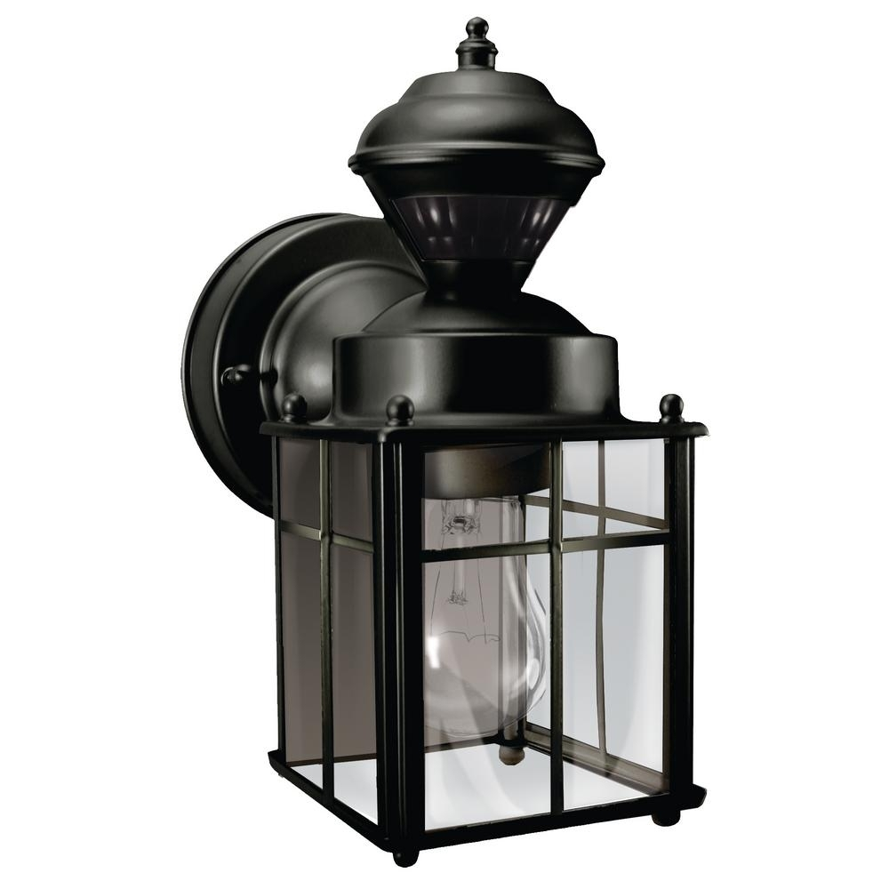 Hampton Bay Bayside Mission 150 Degree Black Motion Sensing Outdoor Pertaining To Recent Black Outdoor Lanterns (Gallery 14 of 20)