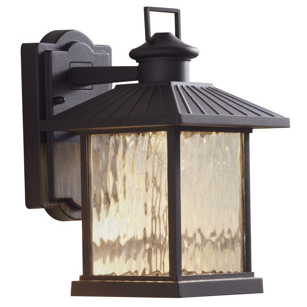 Hampton Bay Lumsden 7 In. Black Outdoor Integrated Led Wall Mount With Widely Used Outdoor Lanterns With Photocell (Gallery 3 of 20)