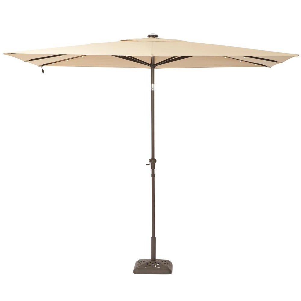 Hampton Bay Patio Umbrellas Intended For Widely Used Hampton Bay 10 Ft. X 6 Ft. Aluminum Solar Patio Umbrella In Cafe (Gallery 4 of 20)