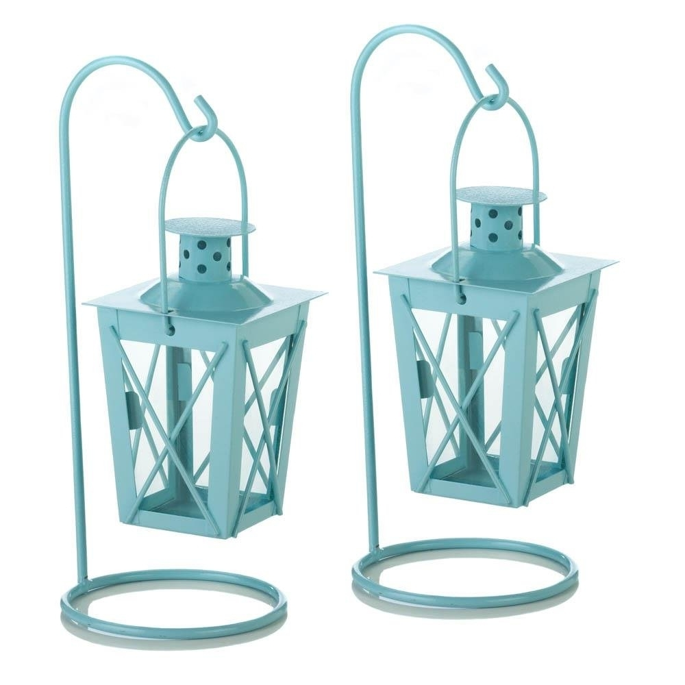 Hanging Lantern Candle, Blue Railroad Duo Glass Metal Small Hanging With Latest Blue Outdoor Lanterns (View 13 of 20)