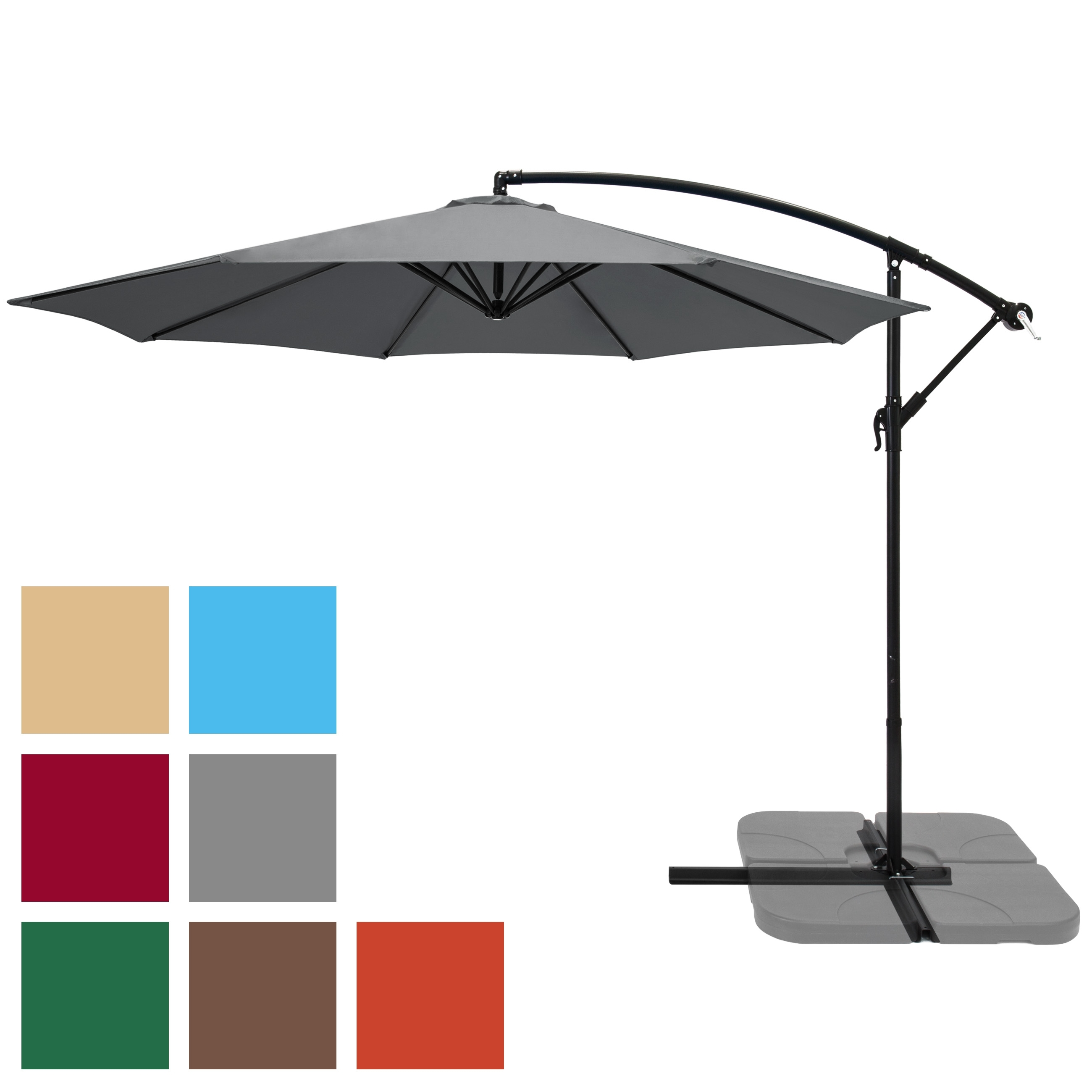Hanging Offset Patio Umbrellas With Regard To Well Known Bestchoiceproducts: Best Choice Products 10Ft Offset Hanging Outdoor (Gallery 19 of 20)