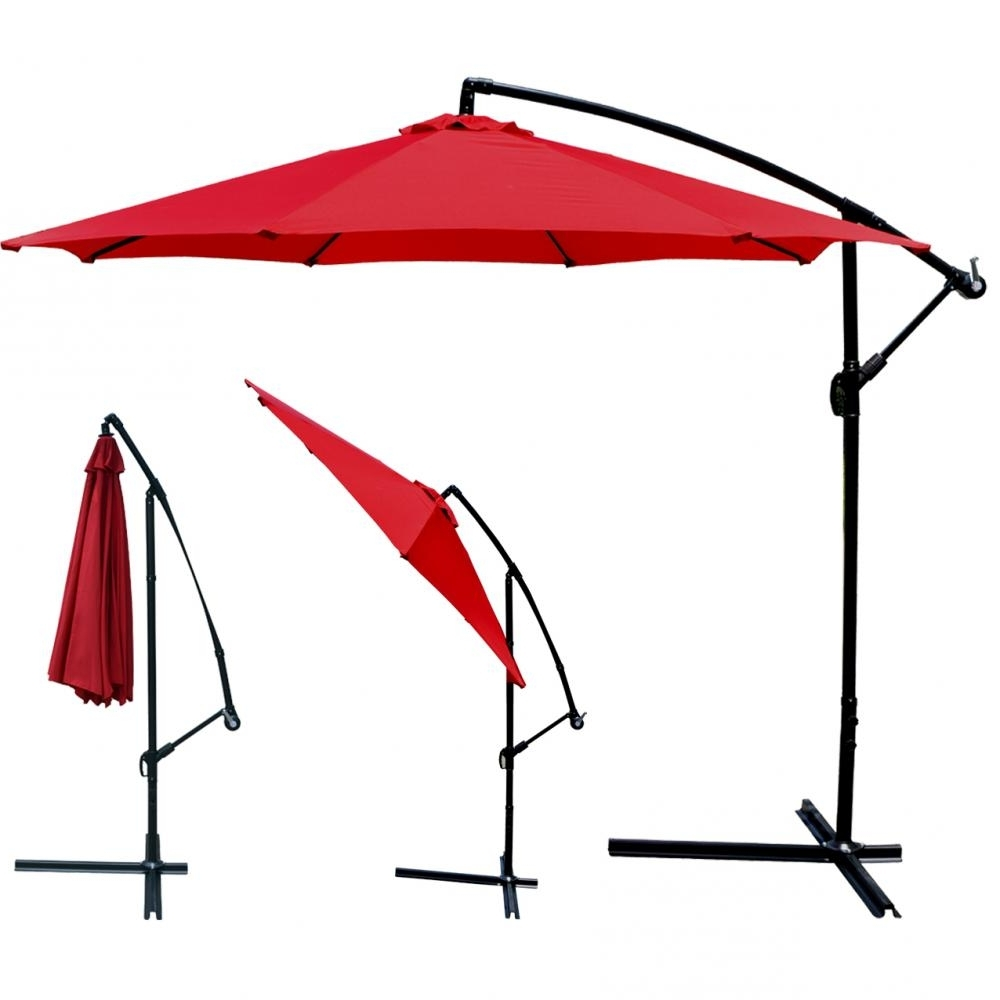 Hanging Patio Umbrellas Inside Most Recent Red Patio Umbrella Offset 10' Hanging Umbrella Outdoor Market (Gallery 9 of 20)