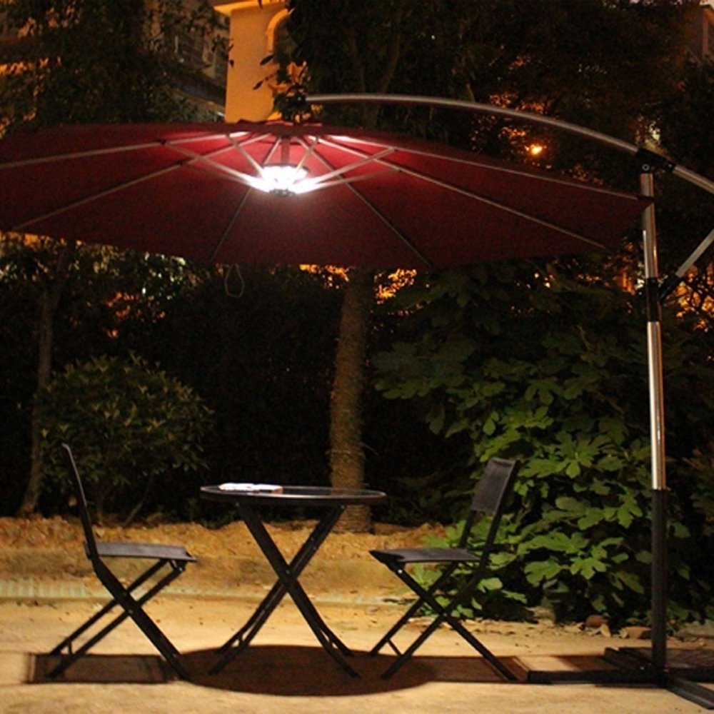 Hanging Patio Umbrellas Within Well Known Outdoor Patio Umbrella Light Review – Youtube (View 16 of 20)