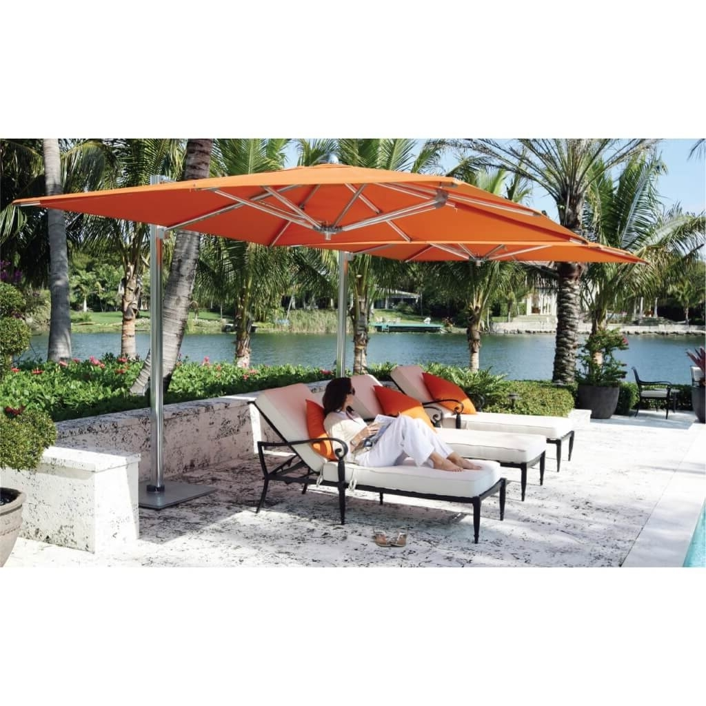 Heavy Duty Patio Umbrellas Pertaining To Favorite Modern Sundeck Patio Ideas With Silver Stainless Steel Orange Canopy (Gallery 11 of 20)