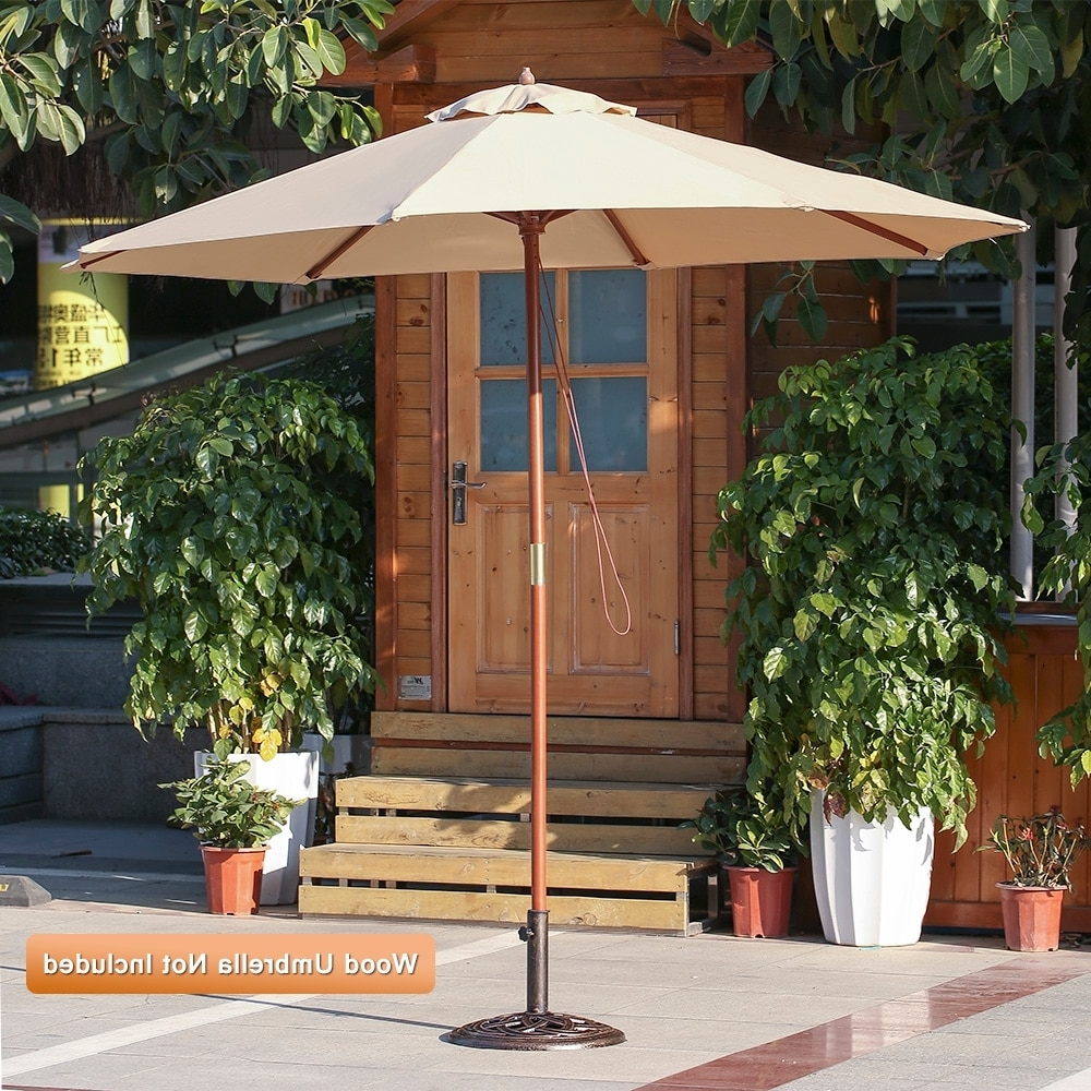 Heavy Duty Patio Umbrellas With Regard To Most Up To Date Ikayaa 19.8Lb Heavy Duty Patio Garden Umbrella Base Stand Cast Iron (Gallery 15 of 20)