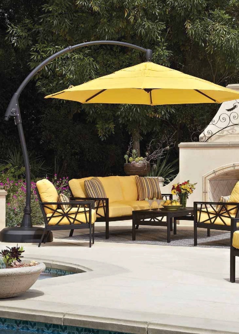 Home Decor: Cool Outdoor Cantilever Umbrella Combine With Patio Pertaining To Best And Newest Yellow Sunbrella Patio Umbrellas (View 7 of 20)