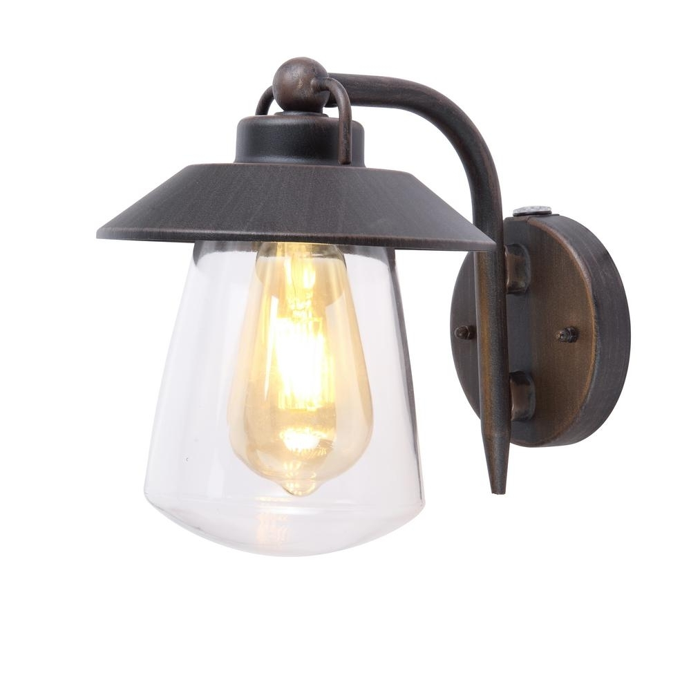 Home Decorators Collection 1 Light Rust Outdoor Small Wall Mount Pertaining To Newest Outdoor Lanterns With Photocell (View 9 of 20)