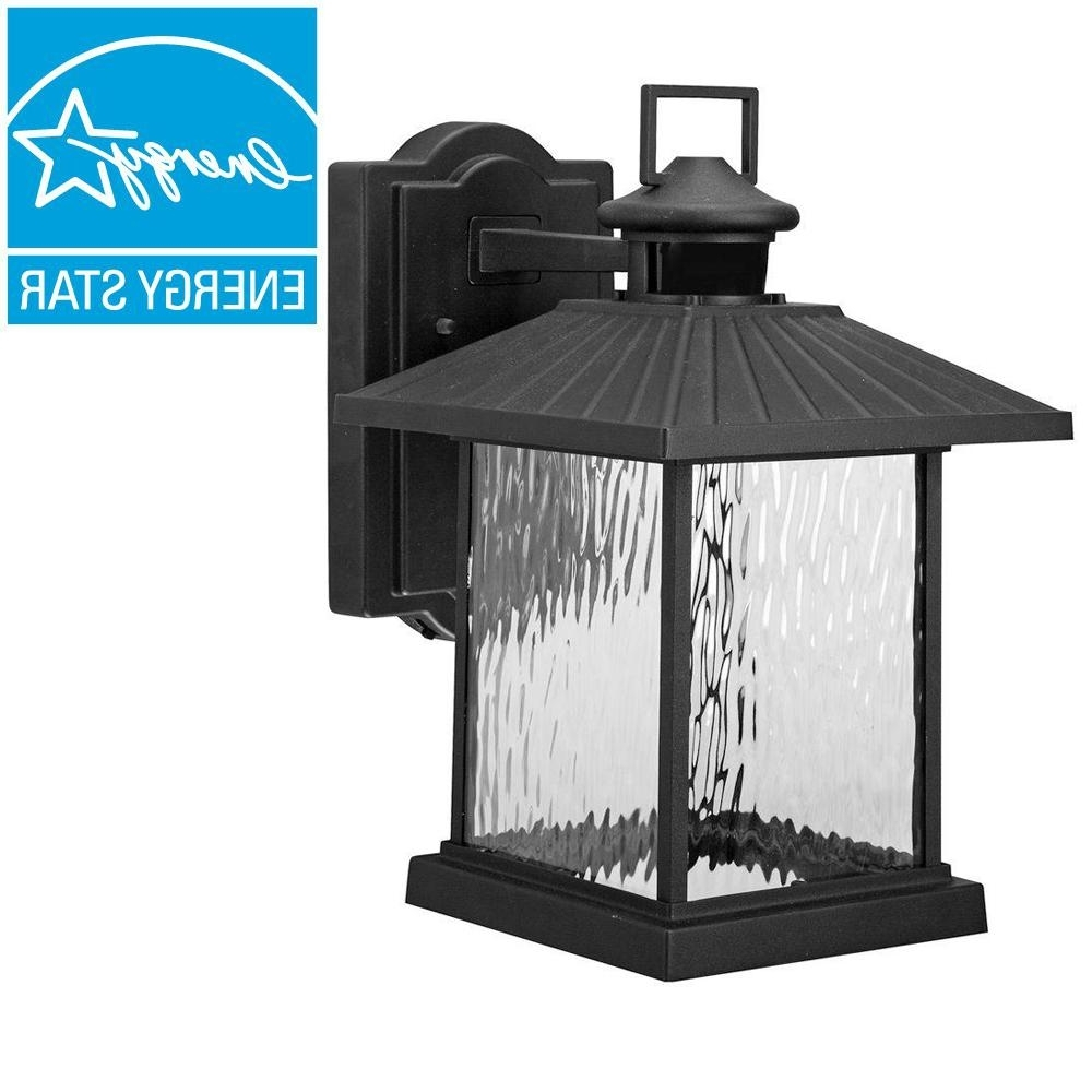 Home Depot Outdoor Lanterns In Well Known Hampton Bay Lumsden Outdoor Black Led Motion Sensor Wall Mount (View 12 of 20)