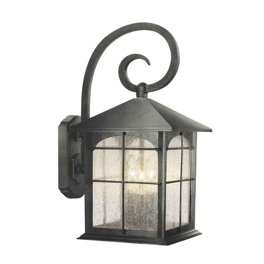 Home Depot Outdoor Lanterns Within Newest Home Decorators Collection Brimfield 3 Light Aged Iron Outdoor Wall (View 17 of 20)
