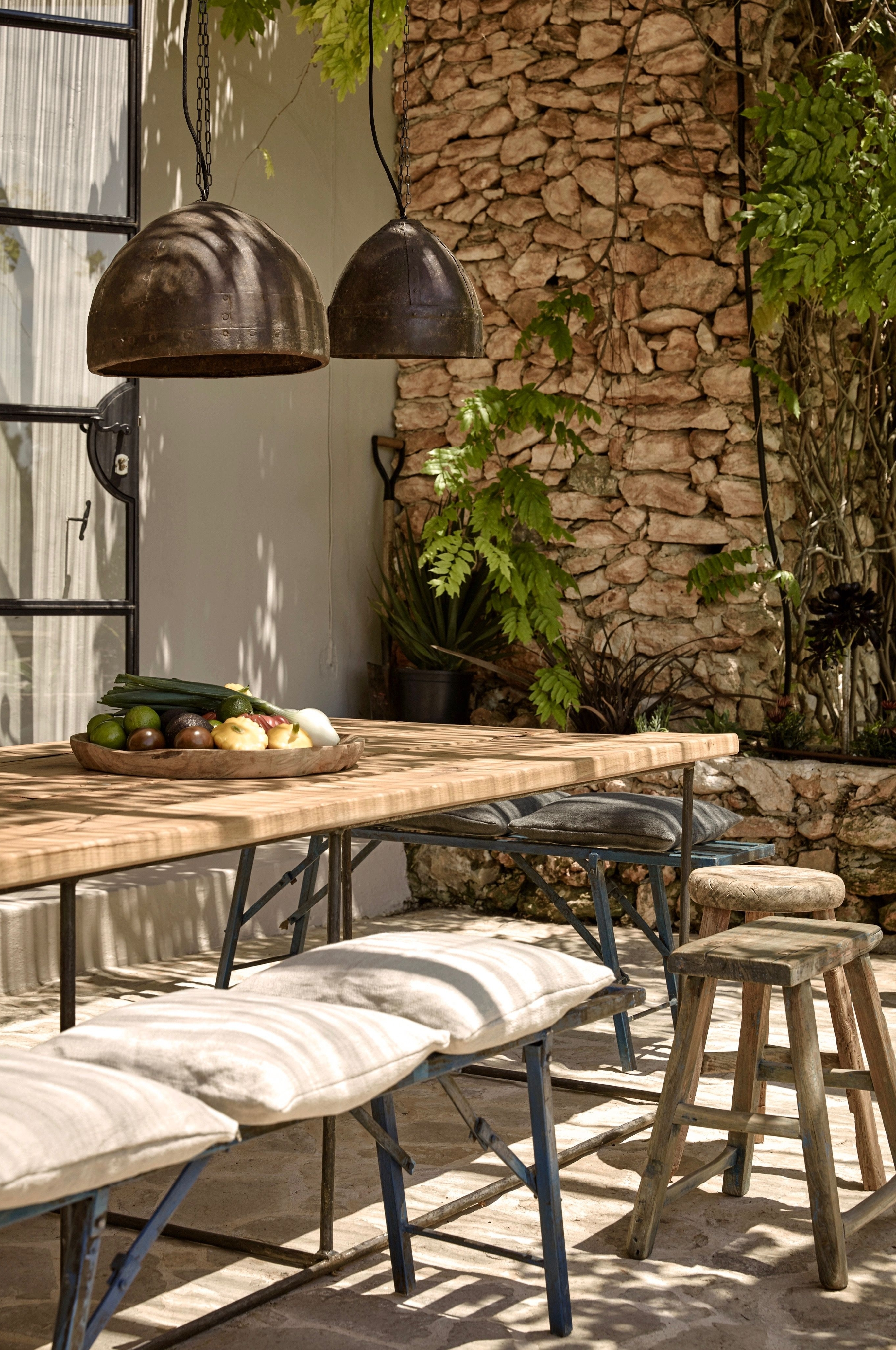 Hotel La Granja Ibiza Outdoor Dining Lanterns Stone Wall Gardenista In Most Up To Date Outdoor Dining Lanterns (View 6 of 20)