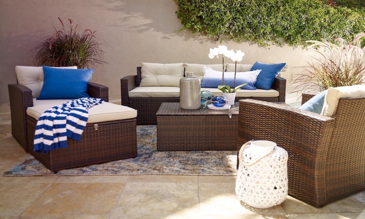 How To Choose Summer Patio Furniture For Small Spaces Overstock Set Within Famous Patio Umbrellas For Small Spaces (Gallery 8 of 20)