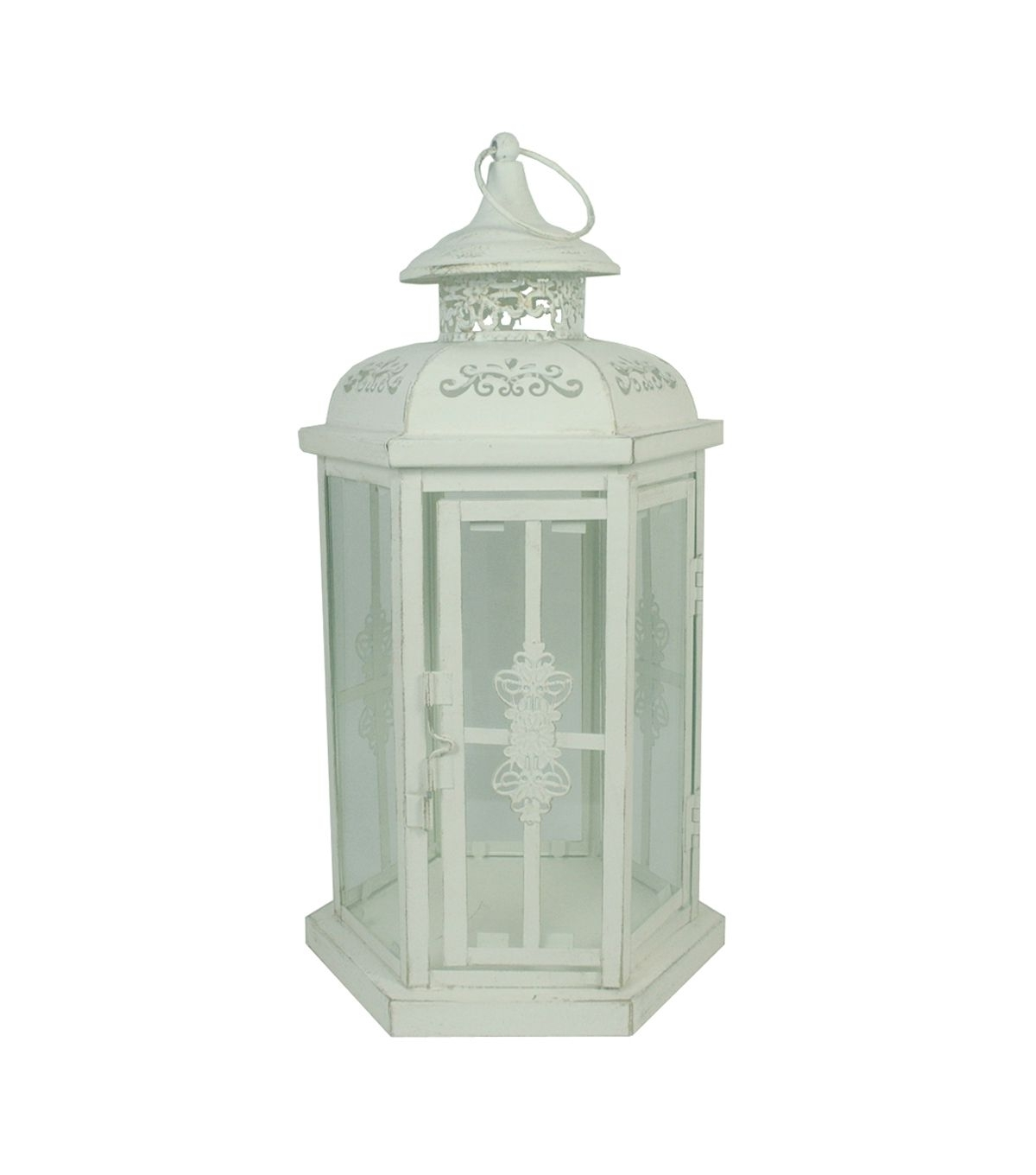 Hudson 43™ Candle & Light Collection Distressed Metal Lantern White Intended For Best And Newest Joanns Outdoor Lanterns (View 6 of 20)