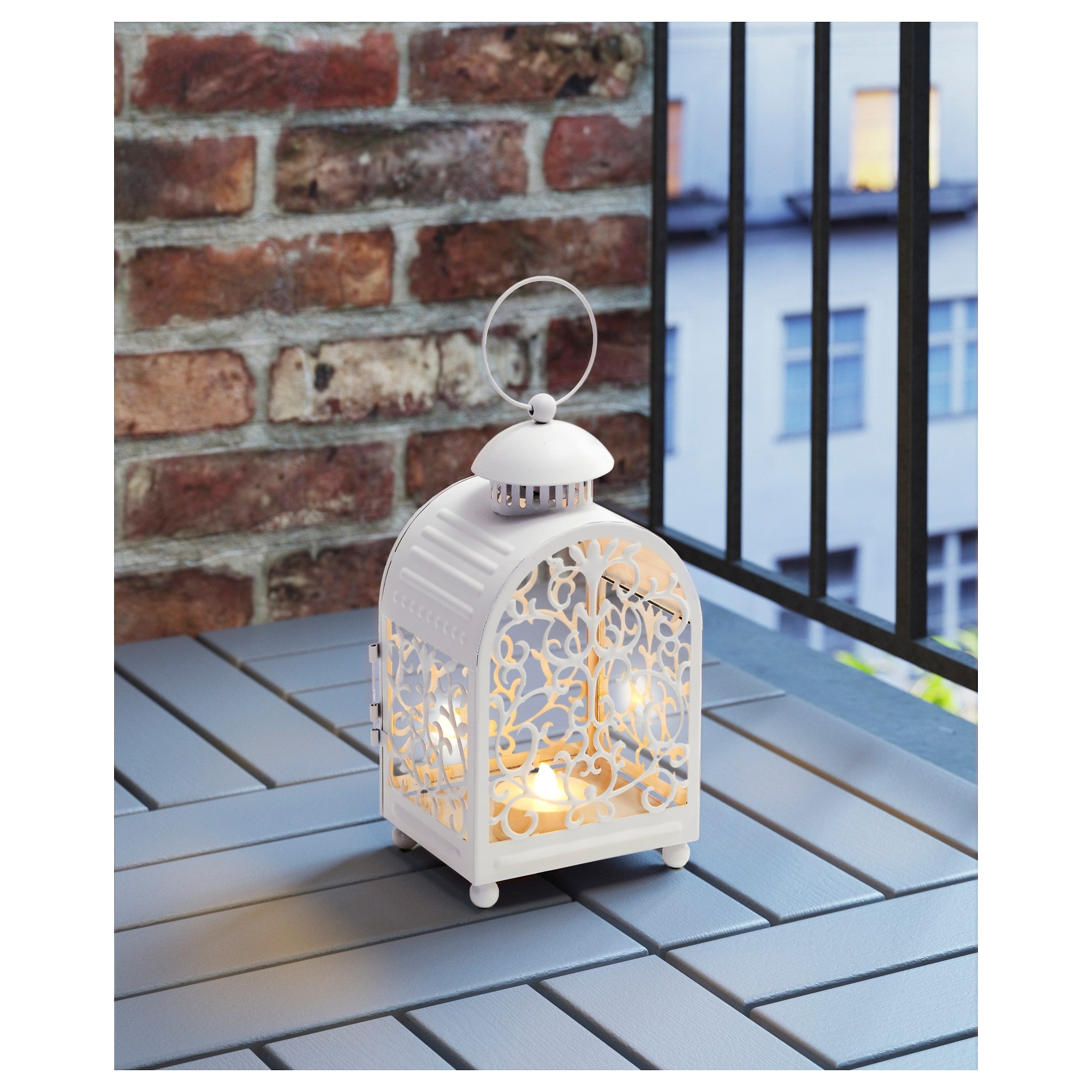 Ikea Outdoor Lanterns With Trendy Gottgöra Lantern For Candle In Metal Cup In/outdoor White 26 Cm – Ikea (View 12 of 20)