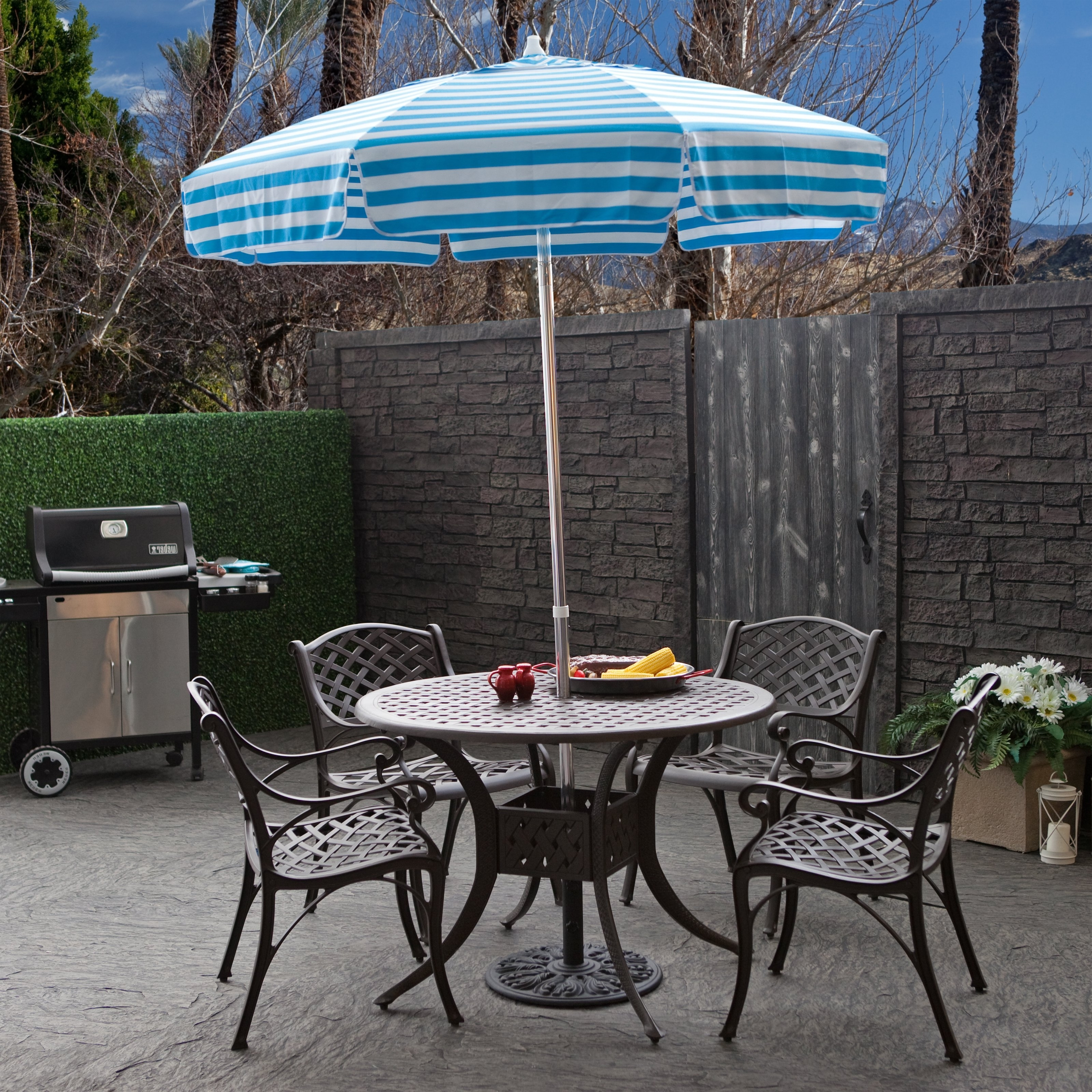 Incredible Patio Table Umbrellas Destinationgear 6 Ft Aluminum With Regard To 2019 Small Patio Tables With Umbrellas (View 6 of 20)